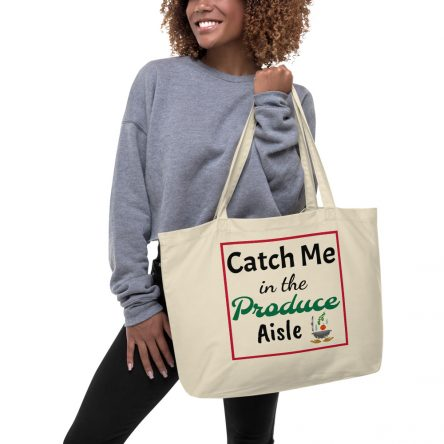 Catch Me Large Organic Grocery Tote Bag